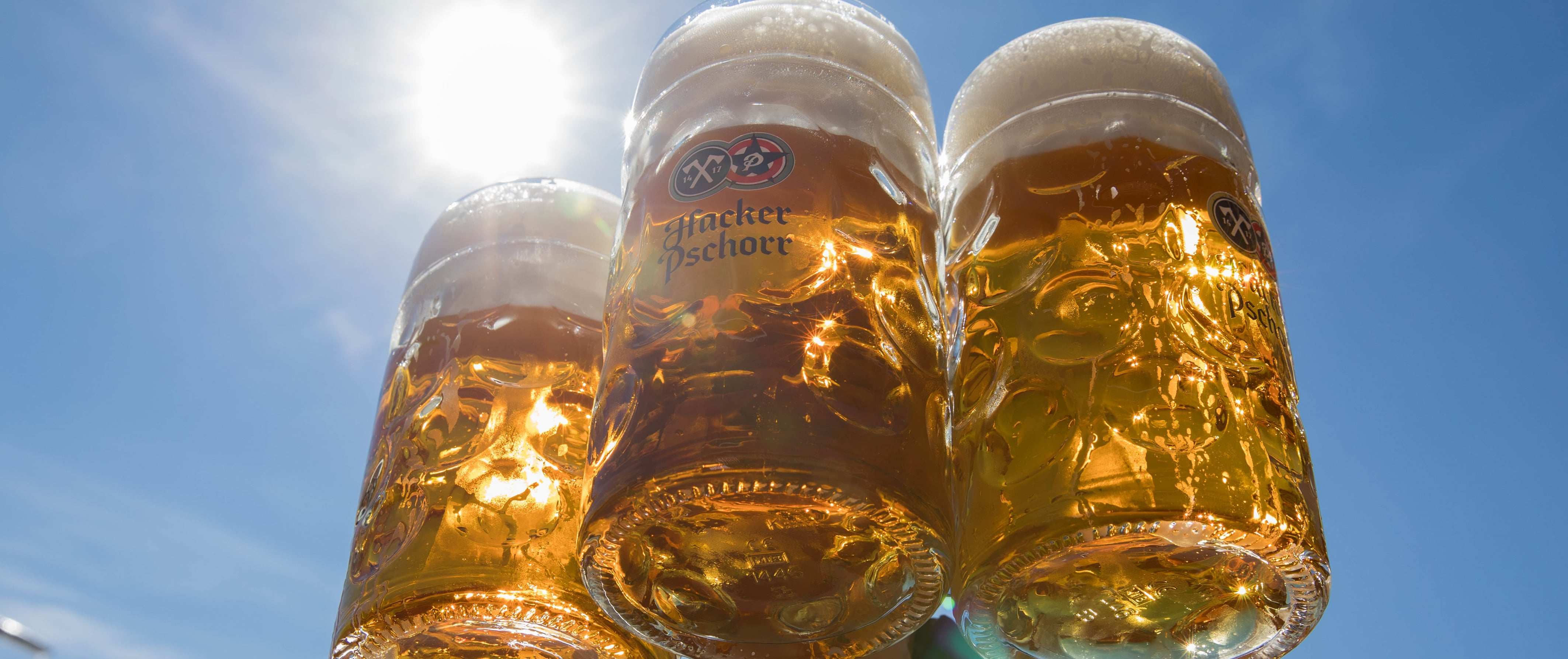 Hacker-Festzelt - Maßkrüge mit Bier im Sonnenlicht